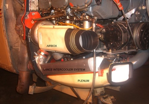 Piper Lance showing intercooler installed